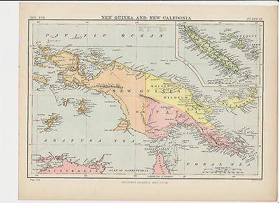 Old Map/Print of New Guinea and New Caledonia area (Circa: 1875-1890) FREE P&P