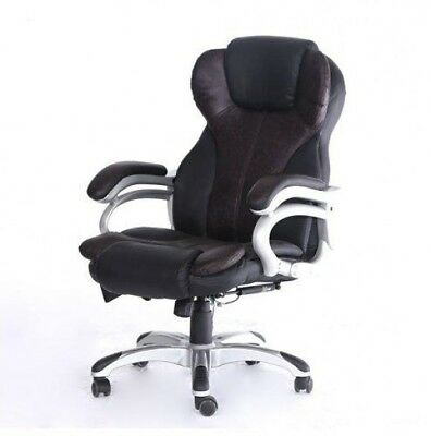 Swivel Computer Desk Chair Executive Office Seat 6 Point Massage PU Black Brown