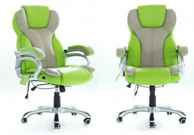 Swivel Computer Desk Chair Executive Office Seat Gaming 6 Point Massage PU Green