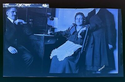 Woman Sitting at Telephone Switchboard Antique Vintage Photo Negative Picture