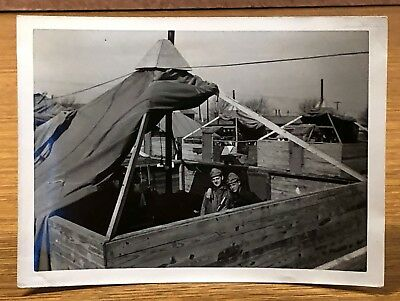 Soldiers Setting Up a Tent Military Antique Vintage Photo Snapshot Picture