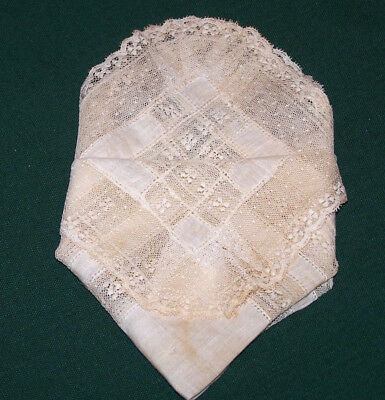 EXQUISITE VINTAGE ANTIQUE WEDDING HANDKERCHIEF, BOBBIN LACE EMBELLISHMENT, c1920
