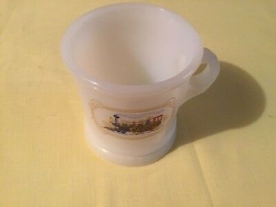 Vintage Avon Shaving Mug White Milk Glass with Train