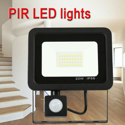 PIR 20W 30W 50W Outdoor LED Floodlight Security Outside Garden Wall Motion Light