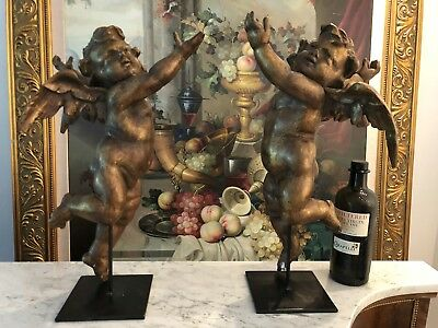 Pair Of 19th Century Wood Carved Cherubs REDUCED AGAIN