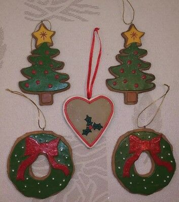 NEW Gingerbread Holiday Iced Glittered COOKIE WREATH CHRISTMAS TREES  Ornament