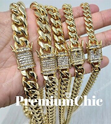 Miami Cuban Link Chain 14k Gold Plated Stainless Steel BLINGED OUT Diamond Clasp