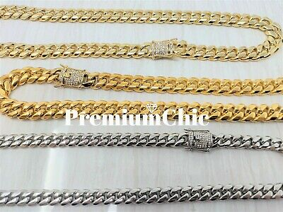 Miami Cuban Link Chain w.1ct Diamond Clasp 18k Gold Plated Stainless Steel