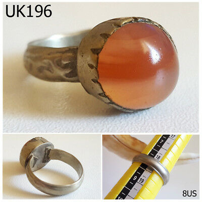 Rare Greek Roman Style Carnelian Agate Jelly REAL Silver Ring Size 8US #UK196a
