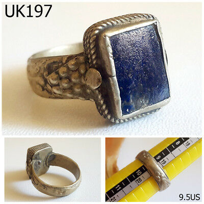 Turkish Lapis lazuli Medieval Stone Silver Mix Ring Size 9.5 US #UK197a