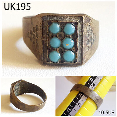 Turkoman Blue Turquoise Stones Silver Mix Ring Size 10.5US Ring #UK195a