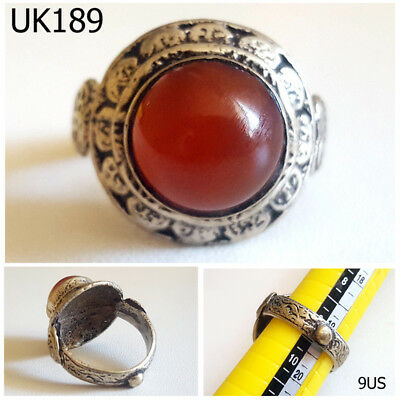 Old Wonderful Greek Style Carnelian Stone Silver Mix Ring Size 9US #UK189a
