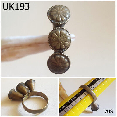 Antique Kuchi Nomadic Silver mix Filigree Ring Size 7US #UK193a