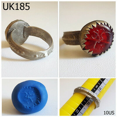 Old Islamic Intaglio Arabic Writing Red Glass Silvermix Ring Size 10US #UK185a