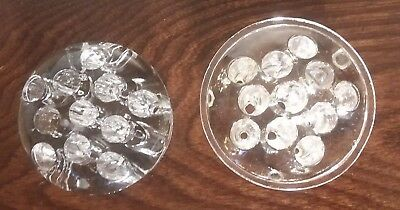 Two Domed Vintage Glass FLOWER FROGS Clear Glass