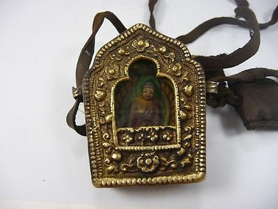 old handwork china tibet collectable copper inlay Buddha amulet pendant