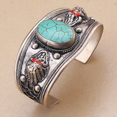 Unisex Gift Turquoise Stone Cuff Bracelet Bangle Tibet Silver Carved Dragon