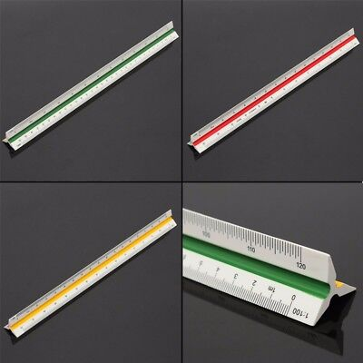 30cm White Triangular Metric Scale Ruler Plastic Three Color Coded Sides