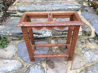 """Late Victorian Carved Oak Stick Stand with brass handle 24"""" Wide"""