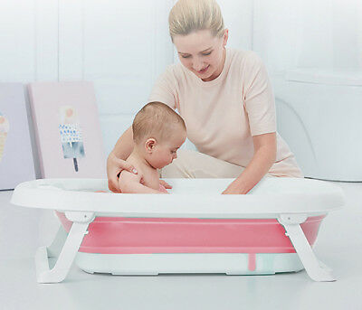 Baby Fold Away Bath Travel Bathtub Anti Slip Kids bath by BABYYUGA - Pink