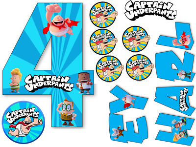 A4 CAPTAIN UNDERPANTS 1 PERSONALISED  EDIBLE WAFER//RICE FONDANT PAPER CAKETOPPER