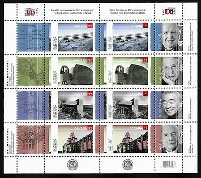 Canada Stamps — Full Pane of 8 — Royal Architectural Institute #2215-18 — MNH