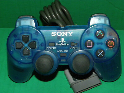 Sony PlayStation 1 PS1 SCPH-1200 Clear Blue Analog Stick Controller Gamepad 3945