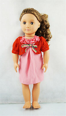 Fit For 18'' American Girl Gift Pink & Red With Bowknot Party Dress Doll Clothes