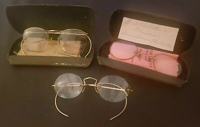 3 Antique Eye Glasses Lot Gold Plated Round Vintage Wire Rim Frames & Case 1900s