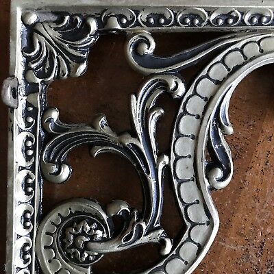 Vintage Antique Ornate Cast Iron Bronze 2 Shelf Brackets 9""