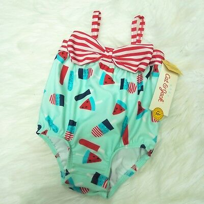 5287c20a New CAT & JACK Infant Baby Girl Watermelon Swimsuit 1 Piece Swimming Attire  ...