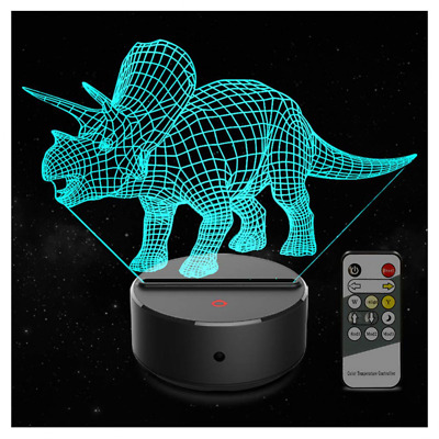 3D Kids Night Light 7 Colors Changing 3D Lamp Remote Control Table Desk NEW US