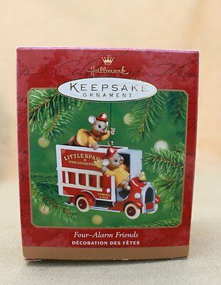 2001 Hallmark Die Cast Metal Ornament FOUR-ALARM FRIENDS QX8325