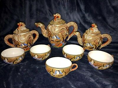 Retro Japanese Porcelain Ceramic Pottery Satsuma Moriage Dragon Ware Tea Set