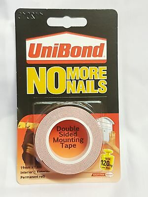 Unibond No More Nails Double Sided Permanent Mounting Tape Roll 19mmx1.5M -120kg