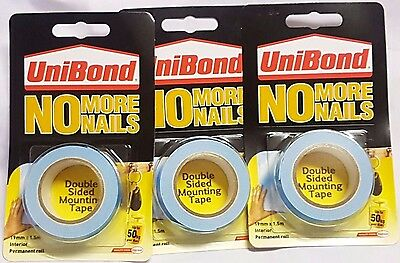 Unibond No More Nails Double Sided Permenant Mounting Tape 19mm x 1.5M - 50kg