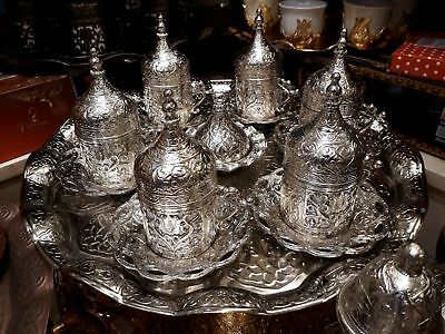 Handmade Turkish  Coffee Cup Saucer Set (silver )Turkish  silver  6 cup +tray