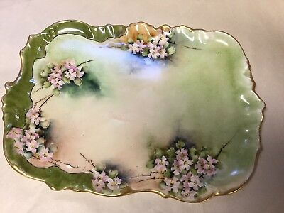 """Limoges Antique Hand Painted Tray 8""""x11"""""""