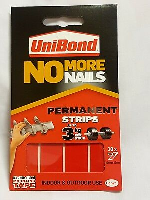 Unibond No More Nails Permanent Double Sided Strips 3kg Tape 20mmx40mm