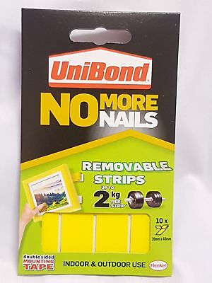 UniBond No More Nails Removable MountingUp To 2kg Pack Of 10 Strips