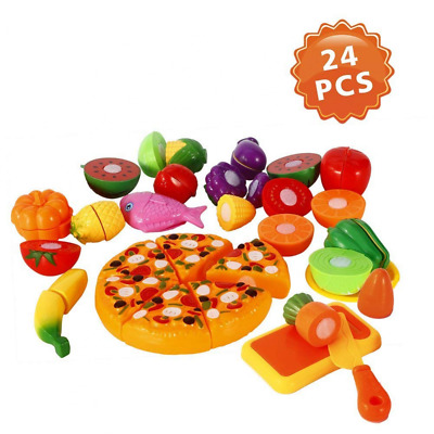 Cutting Fruits & Vegetable Toys (24 PCS), Pretend Play Food Set NEW US SHIPPING
