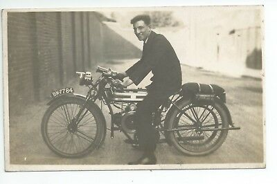 Real photo postcard of a Douglas motorcycle in very good condition