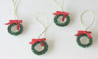 Wreath with Bow Mini Ornaments Christmas for Wire, Feather or Miniature Tree