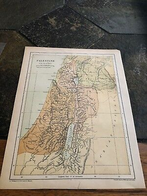 Map Of Palestine In The Time Of Christ And The Holy Land According To Joshua