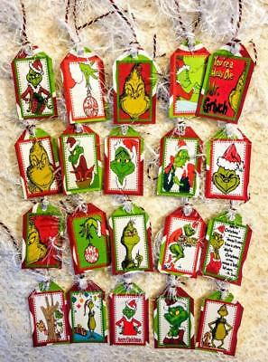 Set of 20 Mini Hang Tags~Christmas Grinch~Gift Tags~Scrapbooking~Card's~#72T