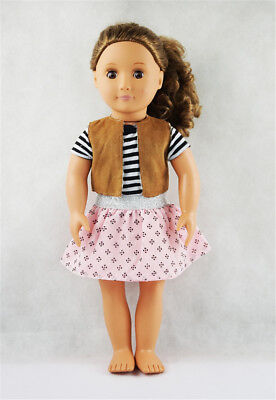 Fit For 18'' American Girl Pink Skirt Stripe T-shirt With Waistcoat Doll Clothes
