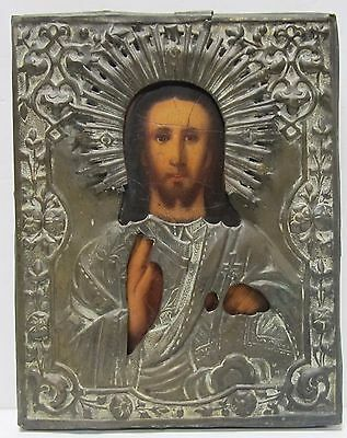 Antique Icon Jesus Christ with sphere Orthodox Russian Empire Wood 175x140mm