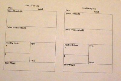 blank daily food diary a5 log sheets slimming world compatible e