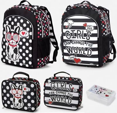Justice Pawsitivity Puppy Dog 2Sided Backpack Lunch Box Tote Supply Box Set NEW