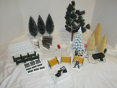 lot of DEPT 56 ACCESSORIES FENCES, TREES, BENCHES LIGHTS + LEMAX